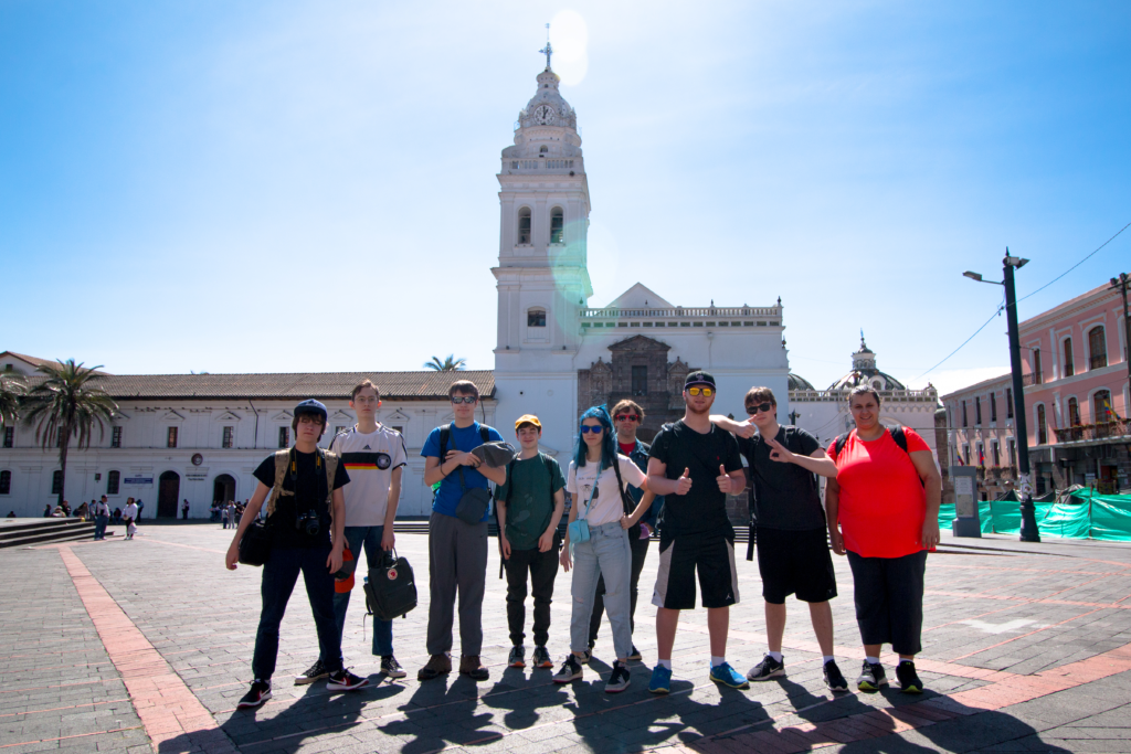 A group of students visiting Independence Square in Quito, Ecuador