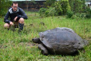 Teacher Sean, watching a Giant Tortoise